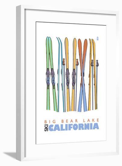 Big Bear Lake - California - Skis in Snow-Lantern Press-Framed Art Print