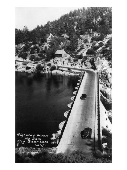 Big Bear Lake, California - View of Highway across the Dam-Lantern Press-Art Print
