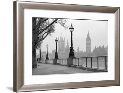 Big Ben And Houses Of Parliament, Black And White Photo-tombaky-Framed Art Print
