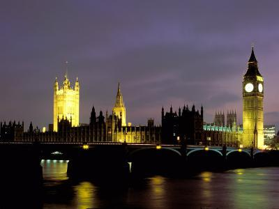Big Ben and the Houses of Parliament at Night, London, England-Walter Bibikow-Photographic Print