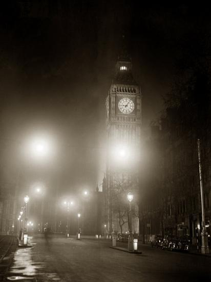 Big Ben and the Houses of Parliament Floodlit for the Opening of the Festival of Britain, 1951--Photographic Print