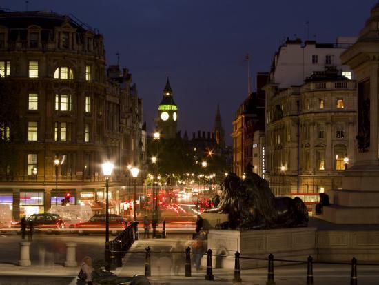 Big Ben and Whitehall from Trafalgar Square, London, England, United Kingdom, Europe-Charles Bowman-Photographic Print