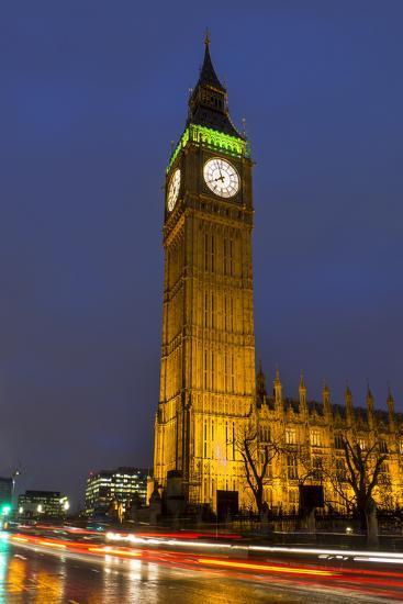 Big Ben at Dusk, London, England, United Kingdom-Charles Bowman-Photographic Print