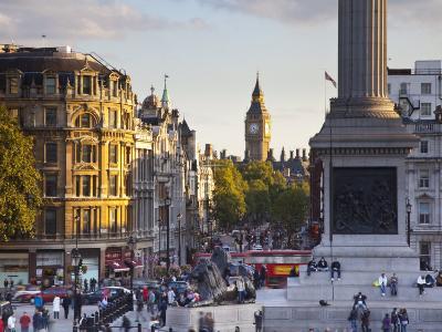 Big Ben, Whitehall and Trafalgar Sqaure, London, England-Jon Arnold-Photographic Print