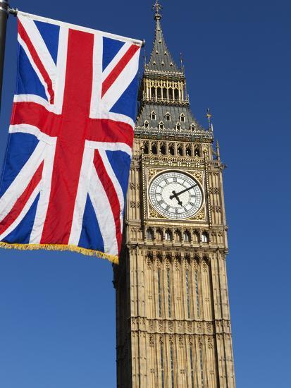Big Ben with Union Flag, Westminster, UNESCO World Heritage Site, London, England, United Kingdom, -Stuart Black-Photographic Print