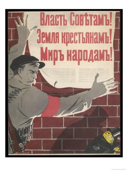 Big Brave Communist Worker Fixes a Poster on a Wall--Giclee Print