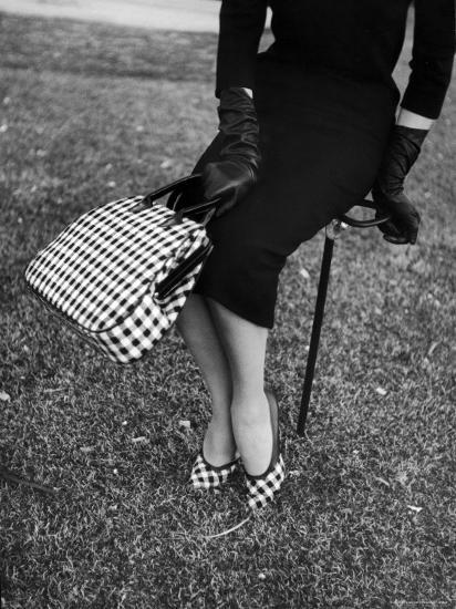 Big Checked Handbag with Matching Shoes, New Mode in Sports Fashions, at Roosevelt Raceway-Nina Leen-Photographic Print