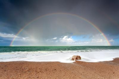 Big Colorful Rainbow over Ocean-Olha Rohulya-Photographic Print