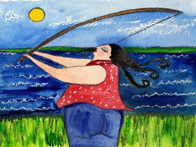 Big Diva Fishing-Wyanne-Giclee Print