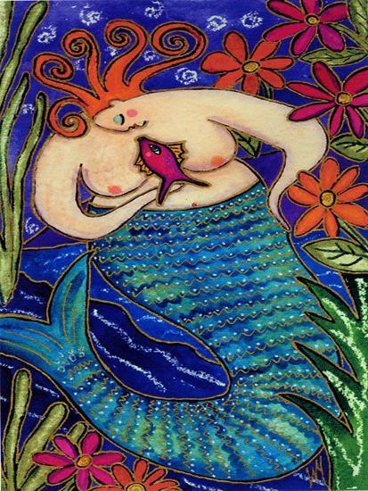 Big Diva Redhead Mermaid-Wyanne-Giclee Print