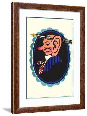 Big-Eared Man with Fountain Pen--Framed Art Print