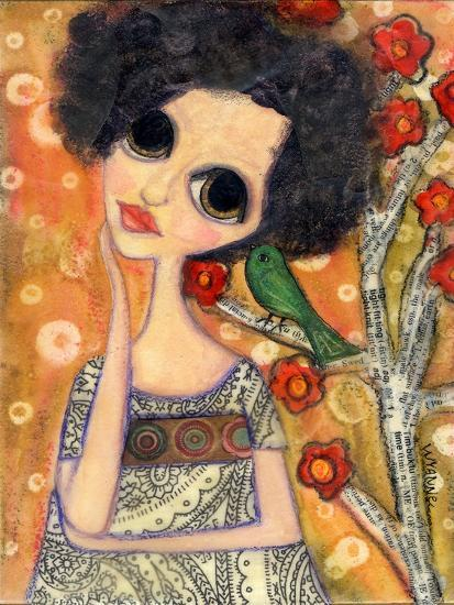 Big Eyed Girl a Birdy Told Me-Wyanne-Giclee Print