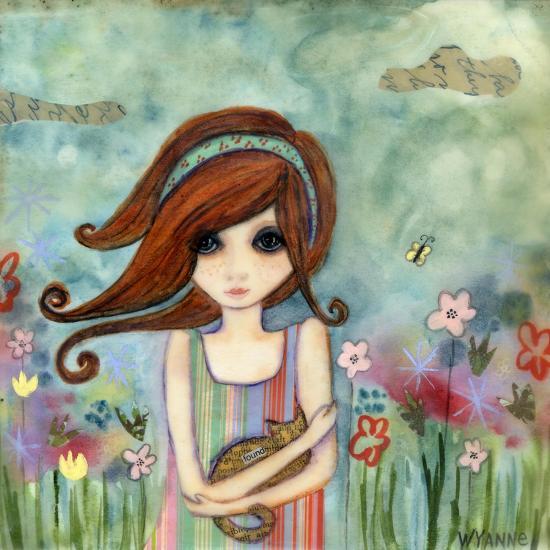 Big Eyed Girl Bad Kitty-Wyanne-Giclee Print