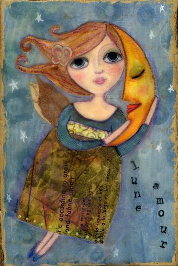 Big Eyed Girl Moon Love-Wyanne-Giclee Print