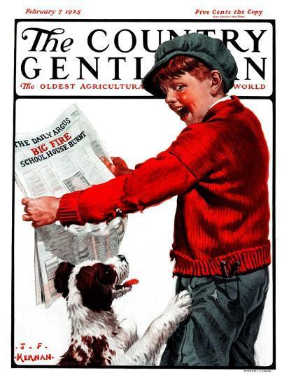 """Big Fire, Schoolhouse Burnt,"" Country Gentleman Cover, February 7, 1925-J^F^ Kernan-Giclee Print"