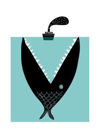 Big Fish Devouring a Ship-Complot-Art Print