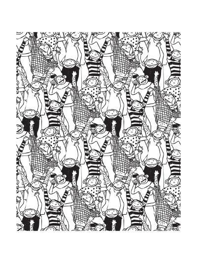 Big Group Monkey Seamless Black and White Pattern-Karrr-Art Print