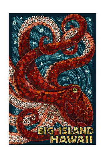 Big Island, Hawaii - Octopus - Mosaic-Lantern Press-Art Print