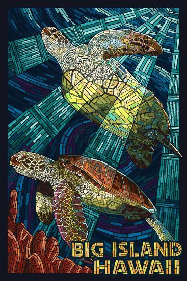 Big Island, Hawaii - Sea Turtle - Mosaic-Lantern Press-Wall Mural