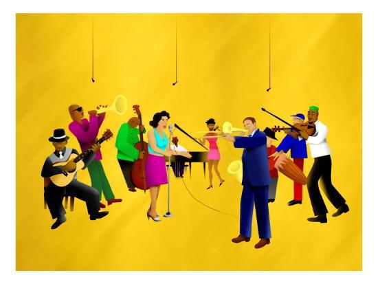 Big Jazz Band Performing-Rich LaPenna-Giclee Print
