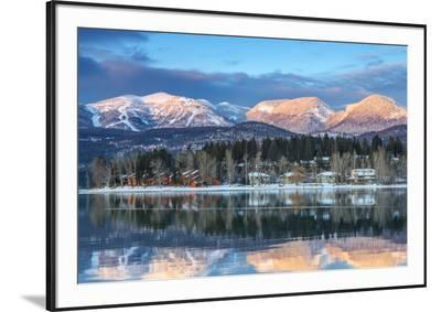 Big Mountain Reflects in Whitefish Lake, Whitefish, Montana, Usa-Chuck Haney-Framed Photographic Print
