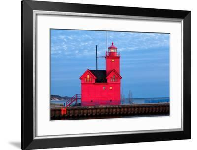 Big Red Lighthouse in Holland Michigan-csterken-Framed Photographic Print