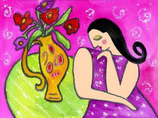 Big Shy Diva and Flower Vase-Wyanne-Giclee Print
