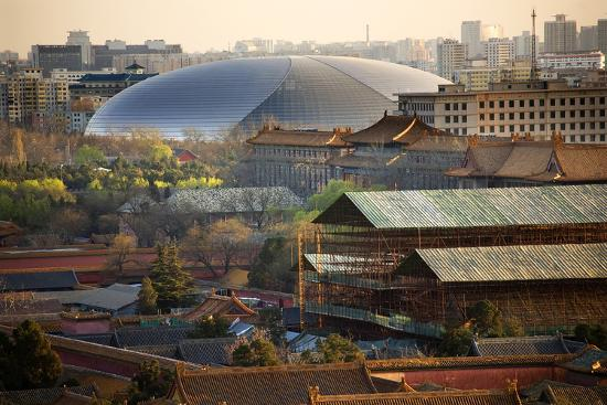 Big Silver Egg Concert Hall Close-Up, Beijing, China. Forbidden City in Foreground-William Perry-Photographic Print