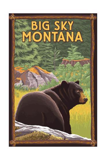 Big Sky, Montana - Bear in Forest-Lantern Press-Art Print