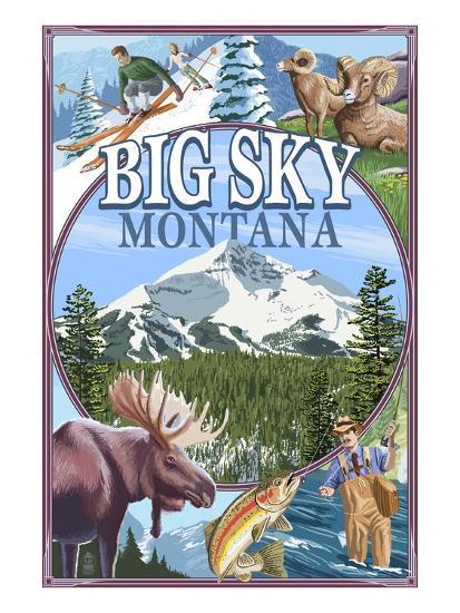 Big Sky, Montana - Scenes-Lantern Press-Art Print