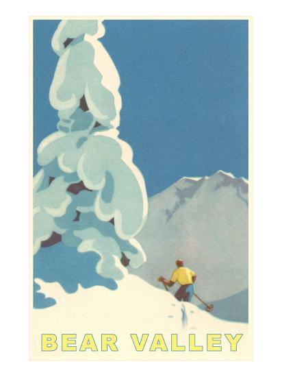 Big Snowy Pine Tree and Skier, Bear Valley--Premium Giclee Print