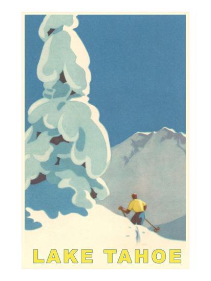 Big Snowy Tree and Skier, Lake Tahoe--Premium Giclee Print