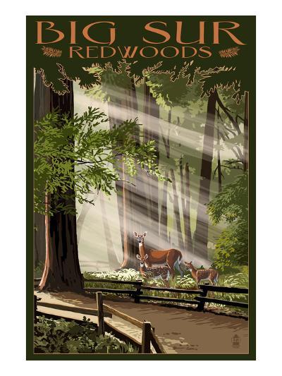 Big Sur, California - Deer and Fawns-Lantern Press-Art Print