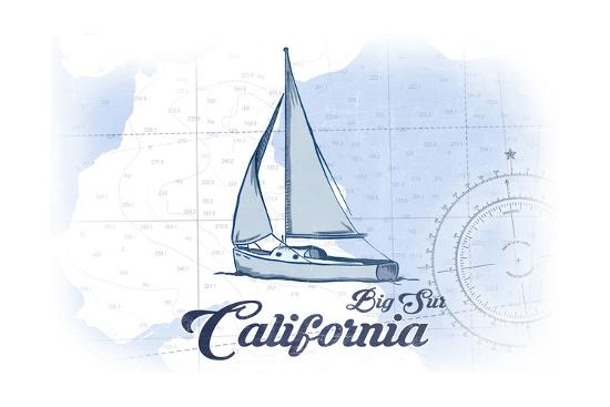 Big Sur, California - Sailboat - Blue - Coastal Icon-Lantern Press-Art Print