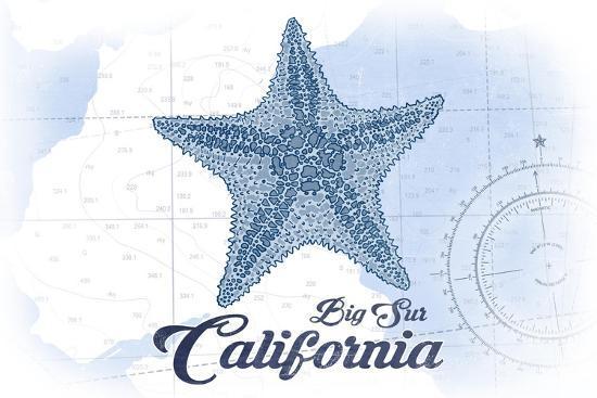 Big Sur, California - Starfish - Blue - Coastal Icon-Lantern Press-Art Print