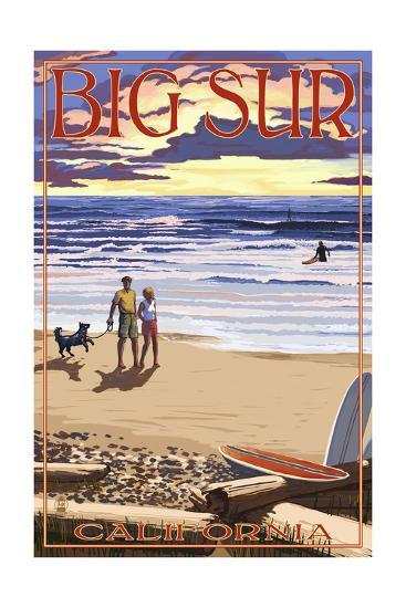 Big Sur, California - Sunset Beach Scene-Lantern Press-Art Print