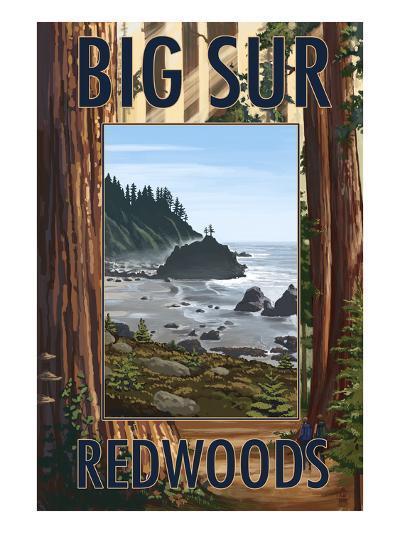 Big Sur, California - Trees and Ocean Scene-Lantern Press-Art Print