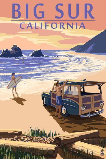 Big Sur, California - Woody on Beach-Lantern Press-Art Print