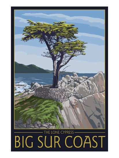 Big Sur Coast, California - Lone Cypress Tree-Lantern Press-Art Print