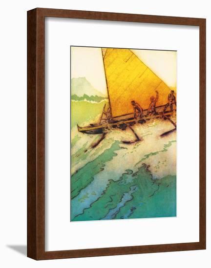 Big Surf At Waikiki, Royal Hawaiian Hotel Menu Cover c.1950s-John Kelly-Framed Art Print