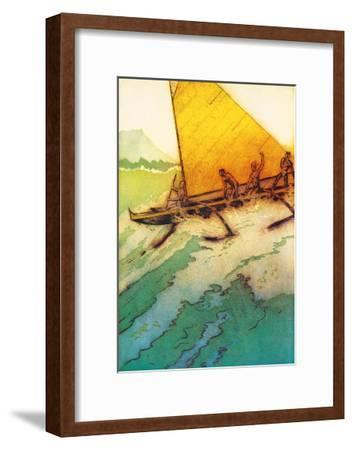 Big Surf At Waikiki, Royal Hawaiian Hotel Menu Cover c.1950s-John Kelly-Framed Art Print