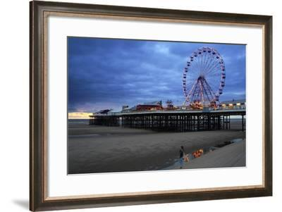 Big Wheel and Amusements on Central Pier at Sunset with Young Women Looking On, Lancashire, England-Rosemary Calvert-Framed Photographic Print