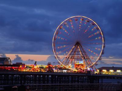 Big Wheel and Funfair on Central Pier Lit at Dusk, England-Rosemary Calvert-Photographic Print
