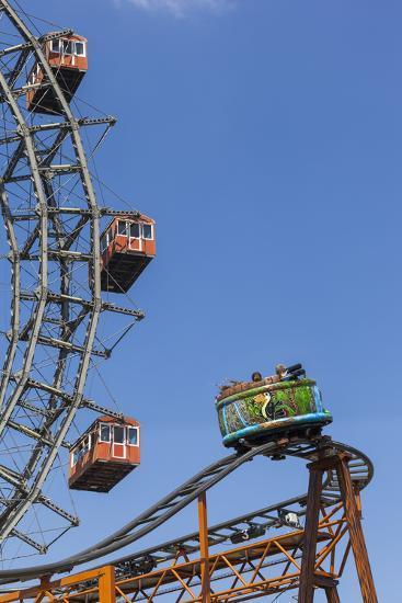 Big Wheel and Rollercoaster, 'Prater', 2nd District, Vienna, Austria, Europe-Gerhard Wild-Photographic Print