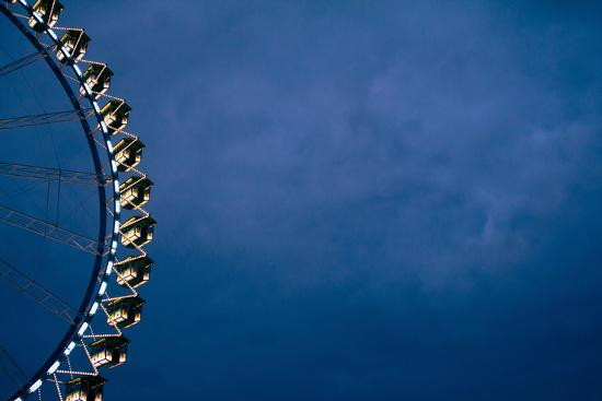 big wheel at night, close-up-Seepia Fotografie-Photographic Print