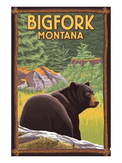 Bigfork, Montana - Bear in Forest-Lantern Press-Art Print