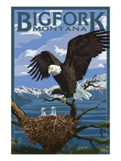 Bigfork, Montana - Eagle and Chicks-Lantern Press-Art Print