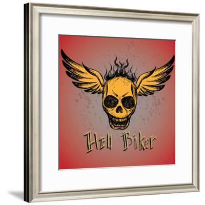 Biker Emblem, Logo or Tattoo, Hand Drawing, Vector- naum-Framed Premium Giclee Print