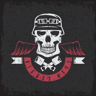 Biker Theme Grunge Label with Pistons ,Wings and Skulls- UVAconcept-Framed Art Print