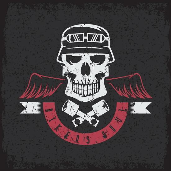 Biker Theme Grunge Label with Pistons ,Wings and Skulls- UVAconcept-Art Print